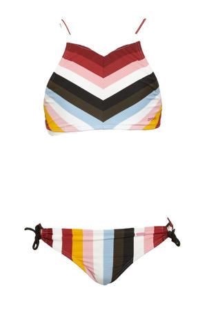 gestreepte crop bikini Juno rood/multi