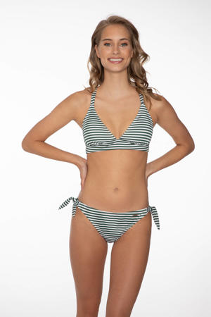 gestreept strik bikinibroekje Hilly donkergroen/wit
