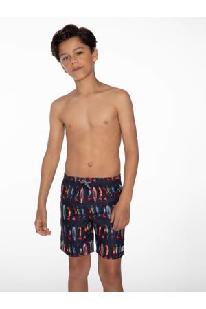 zwemshort Steve met all over print donkerblauw