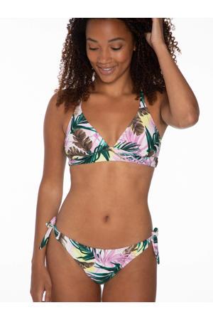 strik bikinibroekje Charms met bladprint lichtroze/groen
