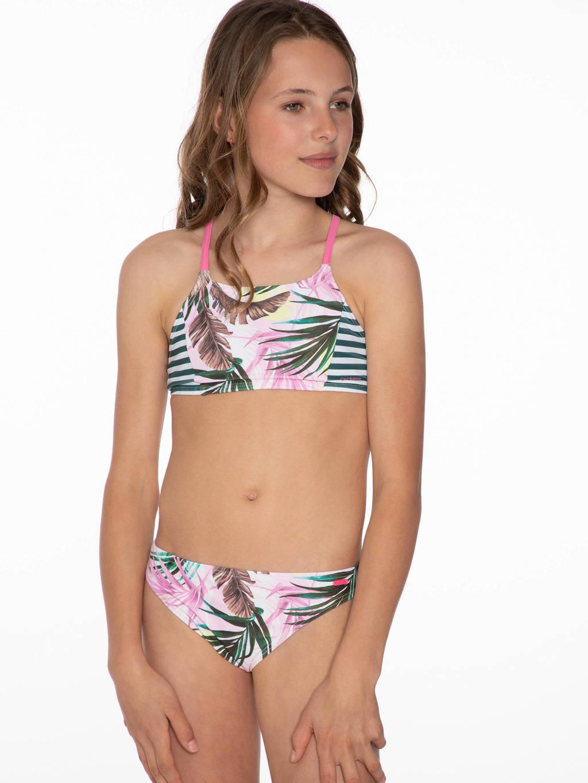 Protest gebloemde crop bikini Elba lichtroze/groen