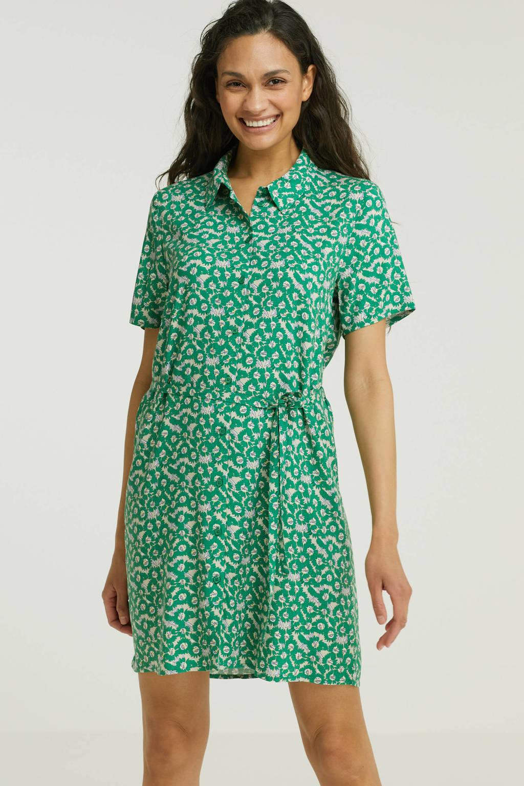 VILA blousejurk VIMINA met all over print en ceintuur groen, Groen