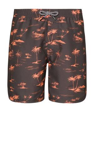 zwemshort Brando met palmboom print donkergrijs/oranje