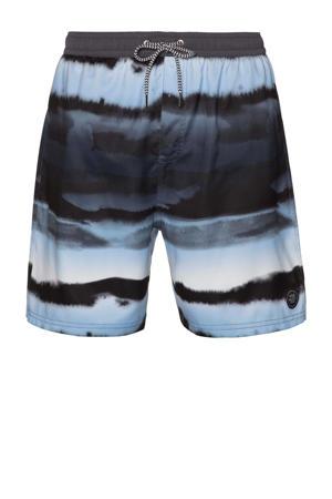 tie-dye zwemshort Troy donkergrijs/lichtblauw