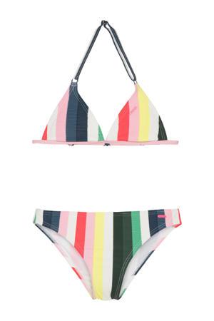 gestreepte triangel bikini Tory wit/geel/blauw