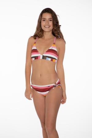 gestreept triangel bikinitopje Chi rood/multi