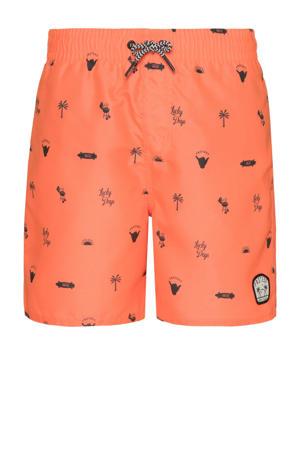 zwemshort Jorn met all over print oranje