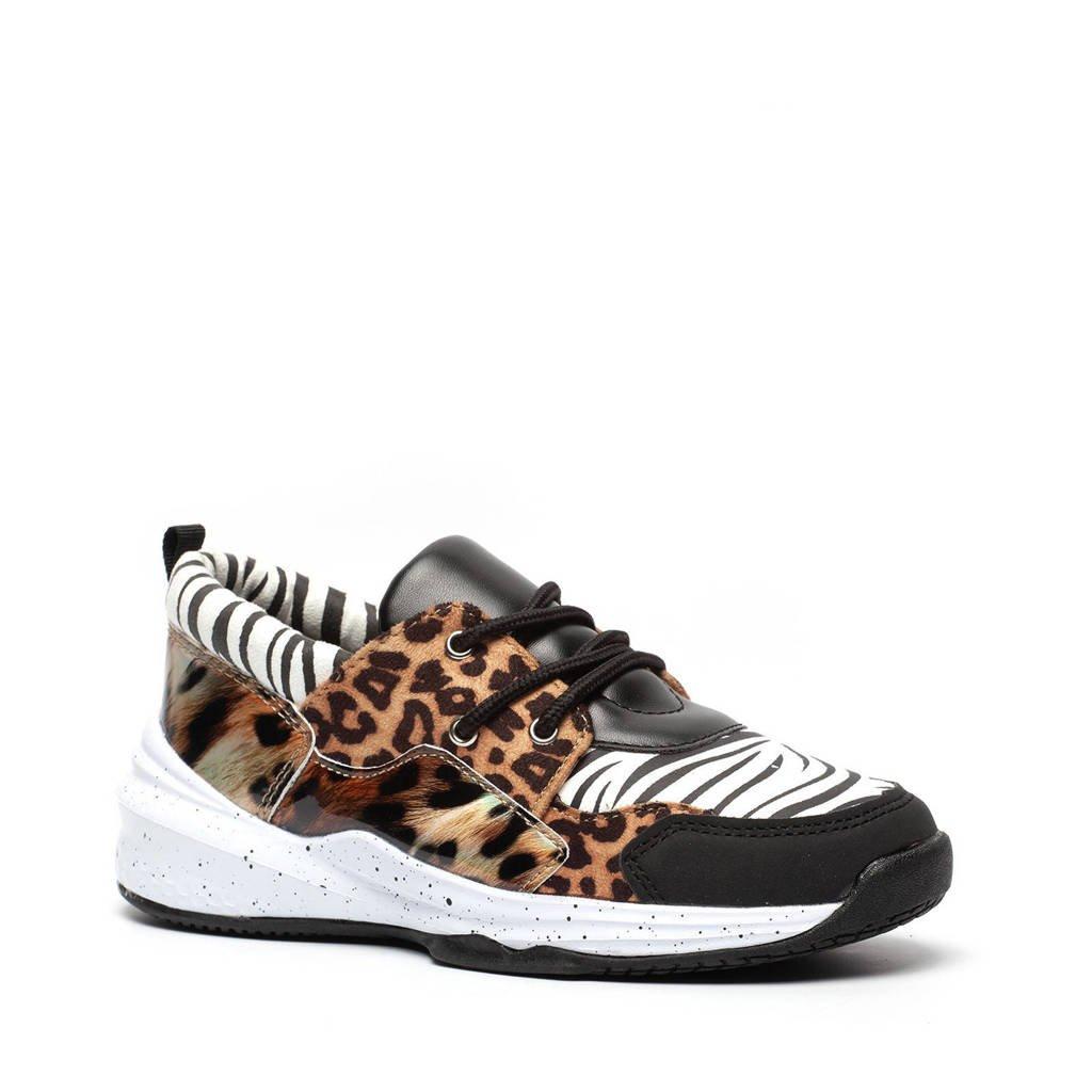 Scapino Blue Box   dad sneakers met dierenprint zwart, Zwart/bruin/wit