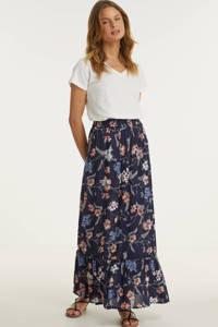 anytime maxi rok met bloemenprint donkerblauw, Donkerblauw