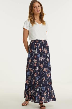 maxi rok met bloemenprint donkerblauw