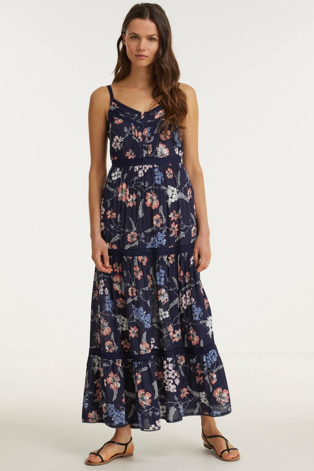 anytime maxi jurk met bloemenprint donkerblauw, Donkerblauw