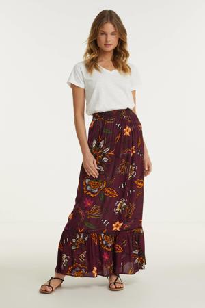 maxi rok met bloemenprint paars