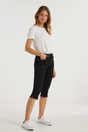 skinny mid rise capri zwart