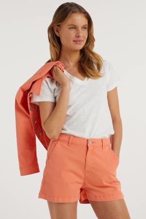 chino fit short koraal/oranje