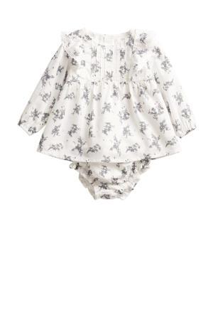 gebloemde baby jurk van biologisch katoen off white/lichtgrijs
