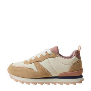 suède sneakers beige/roze