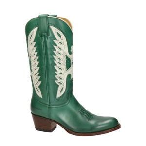 Debora Flex  leren cowboylaarzen groen/wit