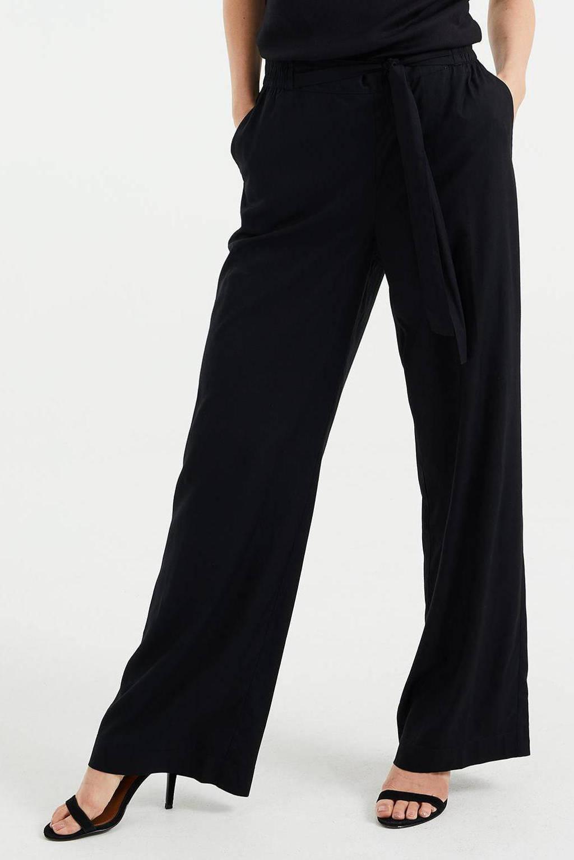 WE Fashion wide leg palazzo broek zwart, Zwart