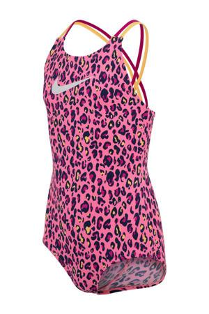 sportbadpak met panterprint roze/zwart