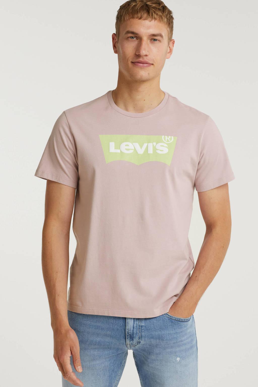 Levi's T-shirt met logo oudroze, Oudroze