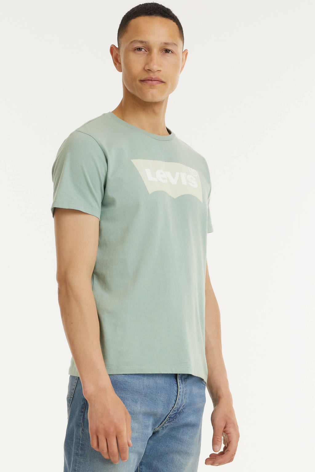 Levi's T-shirt HOUSEMARK GRAPHIC met logo chest batwing blue surf, Chest batwing blue surf