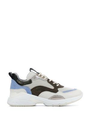 5408055  leren chunky sneakers beige/lichtblauw