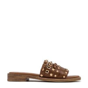 Thrill  leren slippers met studs bruin/goud