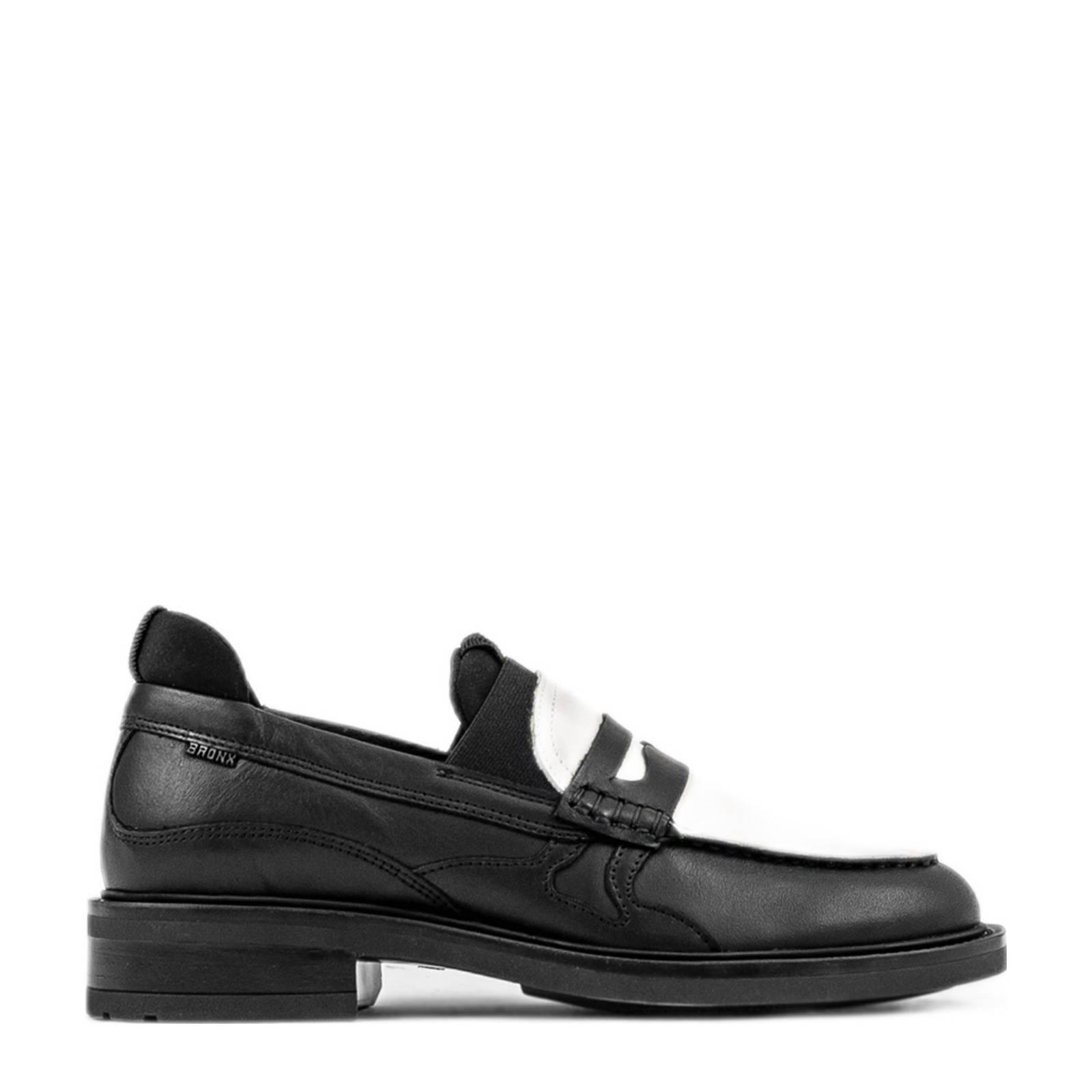 Bronx Ivy-Jazz leren loafers zwart/off white online kopen