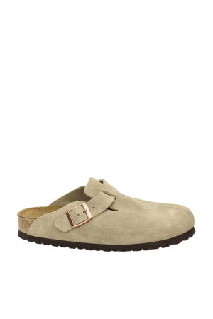Boston Clog  suède instappers taupe