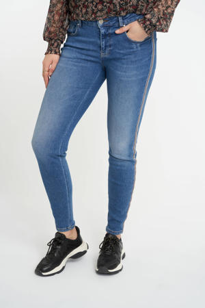 slim fit jeans met zijstreep stonewash denim