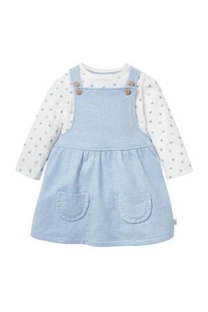 baby jurk met all over print en plooien lichtblauw/wit