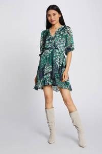 Morgan jurk met all over print marine, Marine/groen