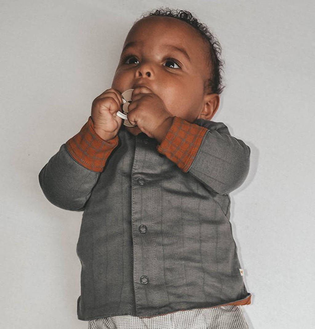 Moodstreet Petit baby gestreept vest June van biologisch katoen grijs/bruin, Grijs/bruin