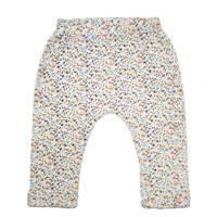 Moodstreet Petit baby gebloemde slim fit broek Bill met biologisch katoen wit/caramel, Wit/caramel