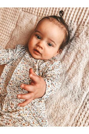 newborn baby jurk wit/caramel