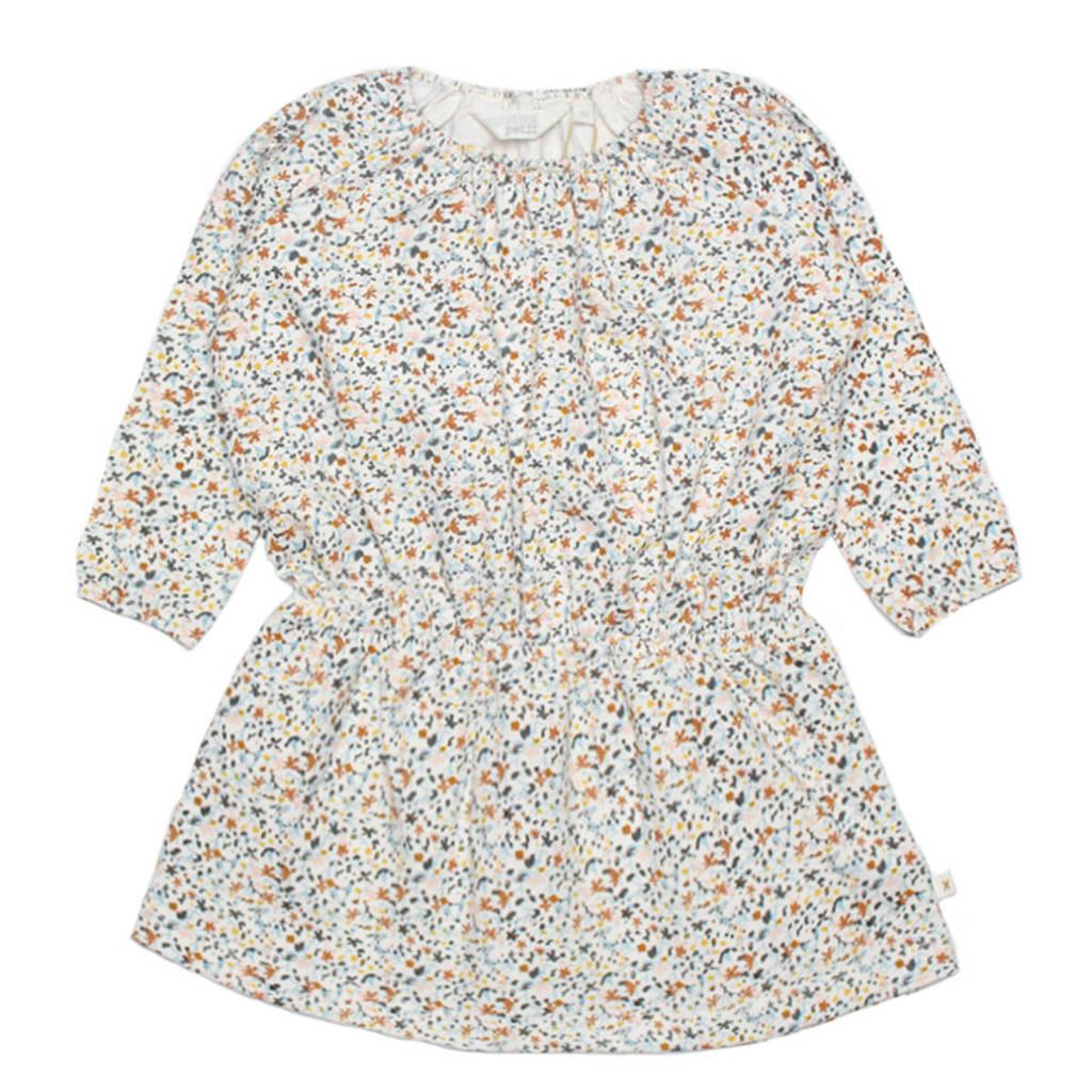 Moodstreet Petit newborn baby jurk Sis wit/caramel, Wit/caramel