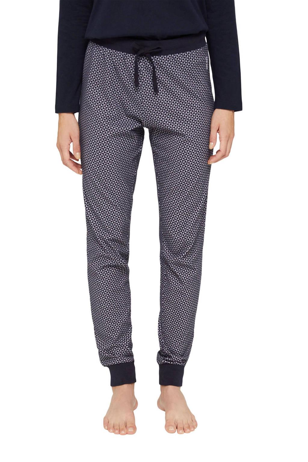 ESPRIT Women Bodywear pyjamabroek met all over print donkerblauw/wit, Donkerblauw