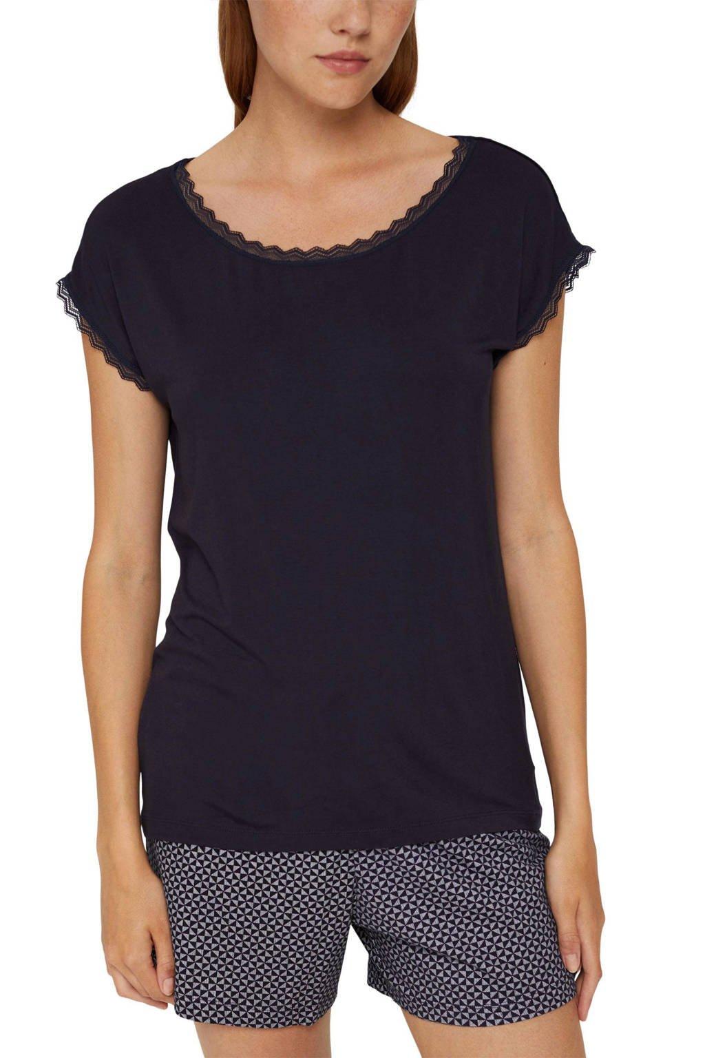 ESPRIT Women Bodywear pyjamatop donkerblauw, Donkerblauw