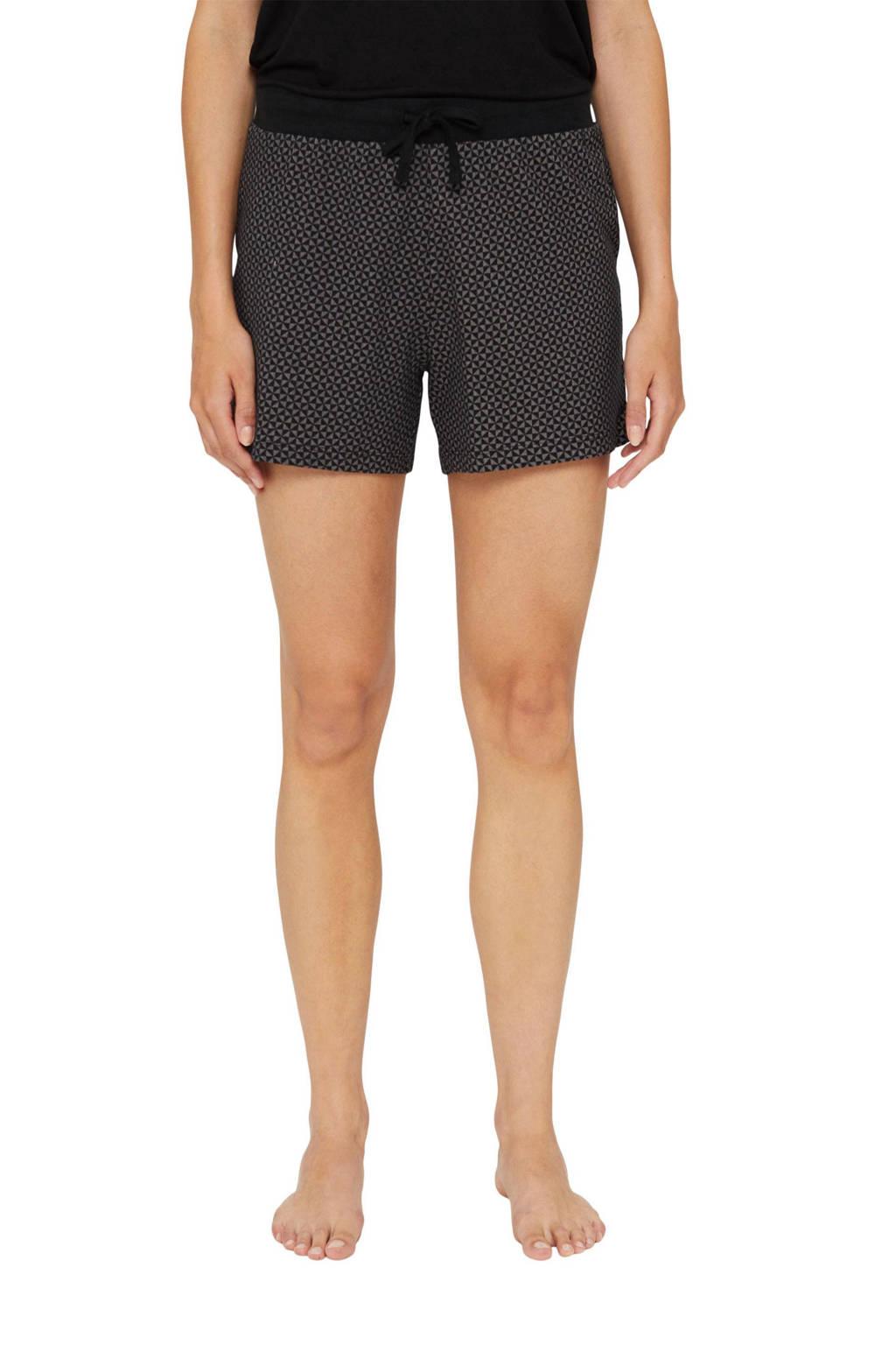 ESPRIT Women Bodywear pyjamashort met all over print zwart/wit, Zwart