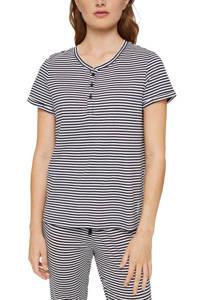 ESPRIT Women Bodywear gestreepte pyjamatop donkerblauw/wit, Donkerblauw/wit