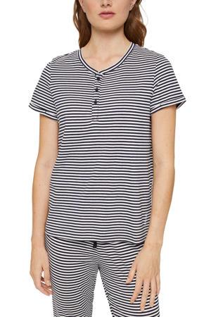 gestreepte pyjamatop donkerblauw/wit