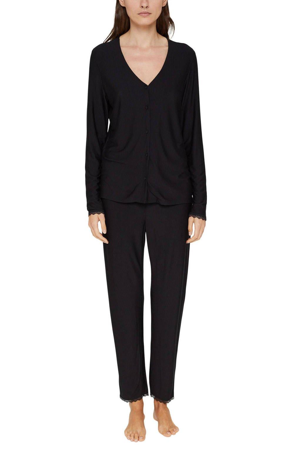 ESPRIT Women Bodywear pyjama zwart, Zwart