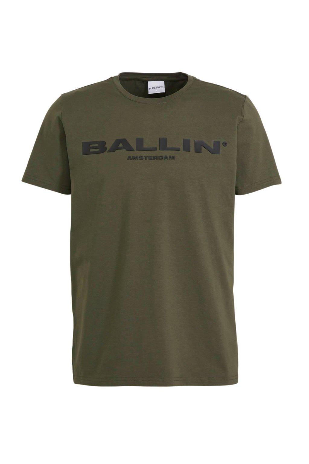Ballin T-shirt met logo donkergroen, Groen