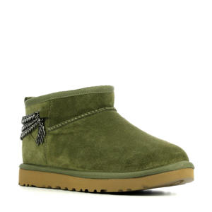 Ultra Mini Chain  suède enkelboots met sierketting groen