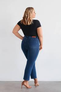 Fox Factor cropped high waist straight fit jeans ROXI dark denim, Dark denim
