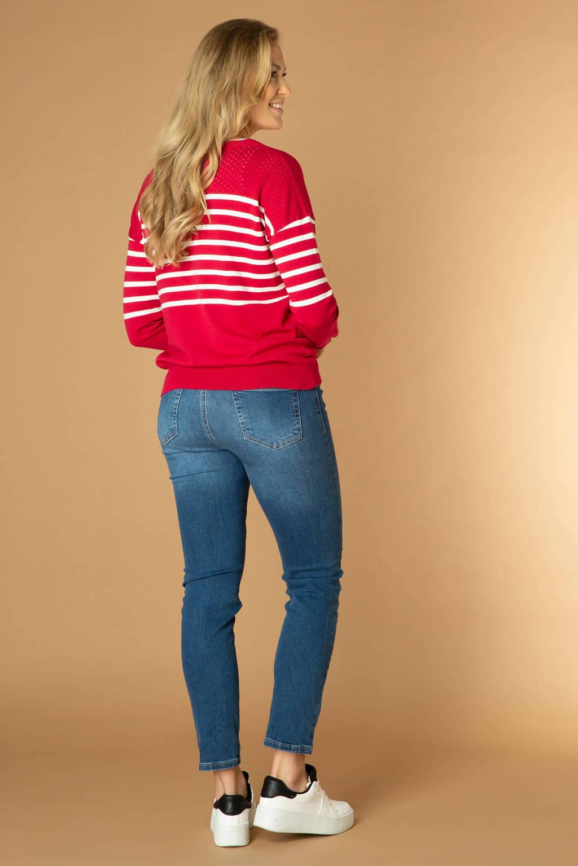 ES&SY gestreepte fijngebreide trui Tiana rood/wit, Rood/wit