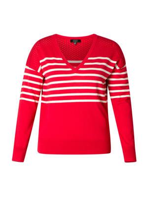 gestreepte fijngebreide trui Tiana rood/wit