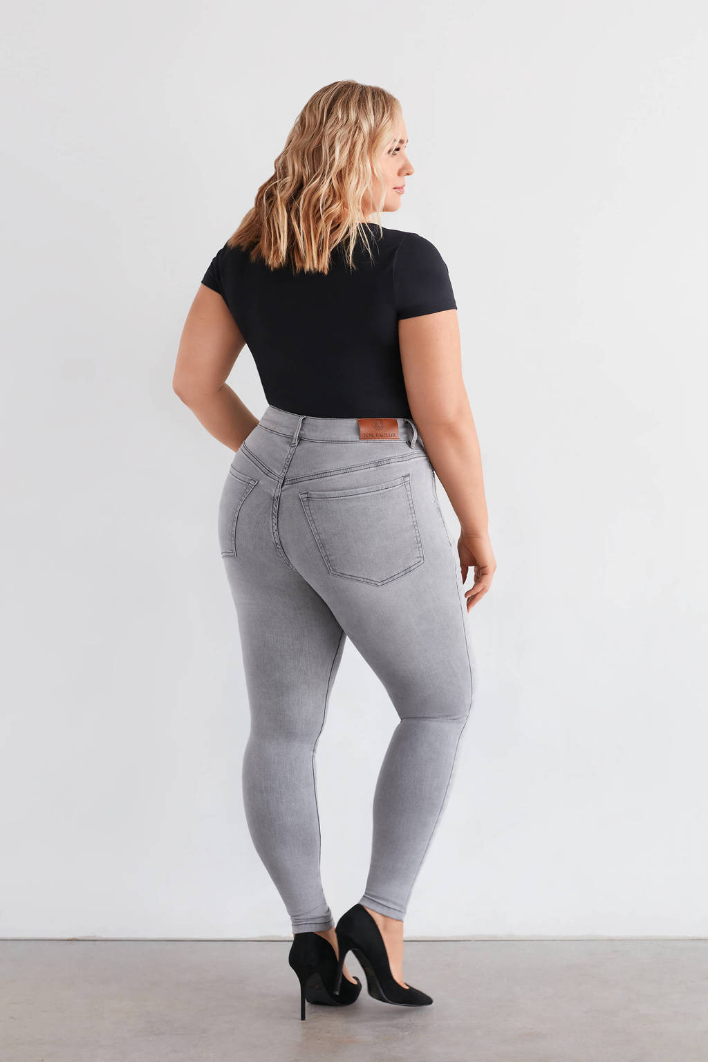 Fox Factor high waist skinny jeans NIKI moon grey, Moon Grey