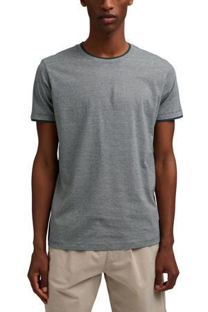 gemêleerd T-shirt met contrastbies donkerblauw