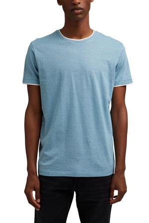 gemêleerd T-shirt met contrastbies lichtblauw